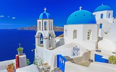 Download wallpapers Santorini, summer, travel, Greece, Aegean Sea, white houses, 4k