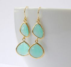 Aqua Earrings  Gold Bridesmaid Earrings  Bohemian by DanaCastle, $32.50