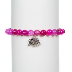 Pink Agate and Elephant Bracelet