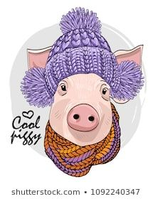 Vector pig with violet knitted hat and knitted scarf. Hand drawn illustration of dressed piggy. Pig Images, Hand Shadows, Pig Crafts, Pig Drawing, Pig Illustration, Baby George, Flying Pig, Painting For Kids, Christmas Pictures