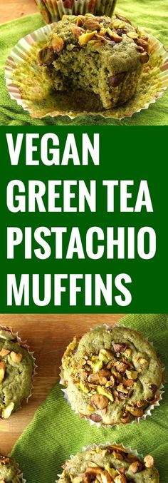 Green Tea and Pistachio Muffins ground flaxseeds plain nondairy milk plain or whole wheat pastry flour baking powder matcha green tea powder lemon zest ground cinnamon n. Healthy Vegan Dessert, Vegan Sweets, Healthy Sweets, Vegan Foods, Vegan Desserts, Pistachio Muffins, Pistachio Recipes, Vegan Pistachio Cake, Pistachio Cookies