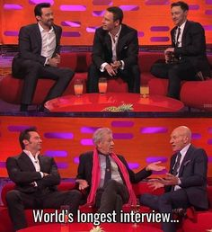 Logan, Erik and Charles It's just that Patrick Stewart and James McAvoy are sitting in the same position!