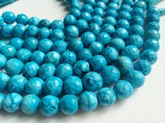 Turquoise Beads Chinese Turquoise Faceted Round by gemsforjewels
