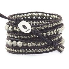 The Graduated Pyrite Wrap Bracelet on Natural Dark Brown Leather by Jewelry Designer Chan Luu
