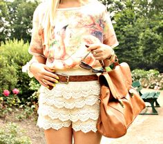 Vintage High Waist Lace Shorts