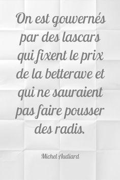 On est gouvernés par des lascars qui fixent le prix de la betterave et qui ne sauraient pas faire pousser des radis - Michel Audiard