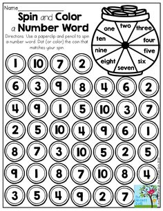Spin and Color a Number Word- Fun printables to help students in Kindergarten build fluency in math and literacy!