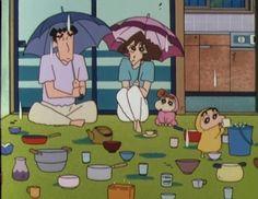 On a rainy day In a cozy house Rainy Wallpaper, Shin Chan Wallpapers, Crayon Shin Chan, Cartoon Wallpaper Iphone, Retro Cartoons, Doraemon, Studio Ghibli, Me Me Me Anime, Cute Cartoon