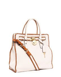 Michael Kors Hamilton Large Whipped North South Tote in Vanilla $398