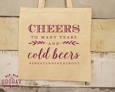 Cheer To Many Years Canvas Totes Custom Totes Wedding Welcome Bags Bachelorette Party Favor Monogrammed Bags Wedding Favor Bags 1608 by SipHipHooray