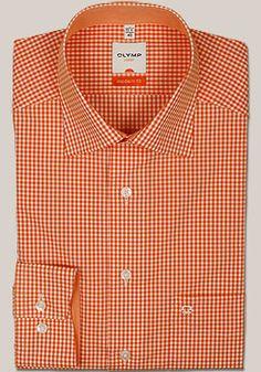 OLYMP Modern Fit Hemd Langarm Karo Dessin orange 7321/64/91 Gefertigt aus luftig, leichter und atmungsaktiver Baumwoll Popeline (100% Cotton, bügel- und knitterfrei)