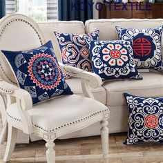 Vintage Ethnic Decoration Cushions China Blue and White  Linen Classic Geometric Cheap Sofa Car Cushion Cover Throw Pillow Case #Affiliate