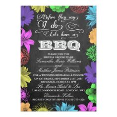 Chalkboard Wedding Rehearsal Dinner Cards Chalkboard Wedding Shower Rehearsal Barbecue BBQ Card