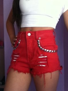 Cute Red High Waisted Shorts.