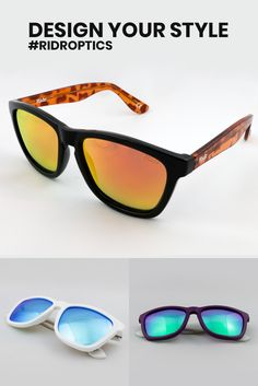 25e67fda89 Design Your Style with Ridr Switch Sunglasses Custom sunglasses to match  your unique style. Classic design with over 140 combination options.