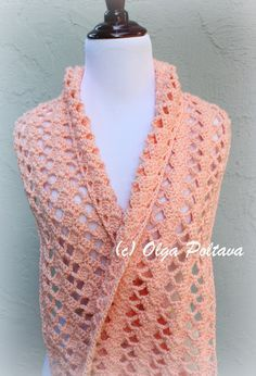 I had some leftover Simply Caron Yarn in peach color, so I made a lacy scarf. I can't say exactly how many yards it took. I don'...