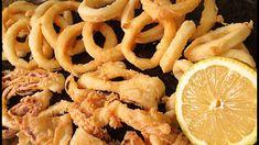 Calamares fritos Squid Recipes, Tilapia Recipes, Crawfish Recipes, Fried Calamari, Fish And Meat, Onion Rings, Bon Appetit, Tapas, Macaroni And Cheese