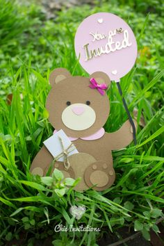 Teddy Invitation Bear Invitation Birthday by ChicInvitationsByCA
