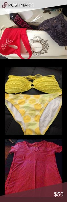 Victoria's Secret Huge Bundle Panties Bikini WOW! Huge bundle here...everything VS! What you get is 2 new pair of medium panties with tags, new in package lanyard, Yellow polka dot bikini in a size medium, a pink Cotton lingerie top in a size medium, and a white cosmetic bag! All items are new or like new! There was a perfume spill in the cosmetic bag so, a slight stain appears inside! Otherwise, this is a sweeeet VS bundle! PINK Victoria's Secret Swim Bikinis