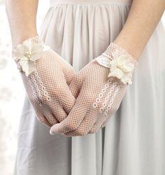 White gloves - bridal gloves with vintage silk flowers. $65.00, via Etsy.