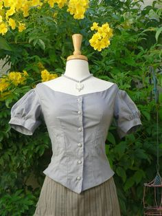 Victorian Ballgown Bodice in Cotton Bustle Dress Top Historical Costume. $78.00, via Etsy.