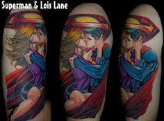 True love never dies. Tattoo by Mario @movingshadowink. #inked #inkedmag #tattoo #idea #superman #supergirl #colordul #love #power
