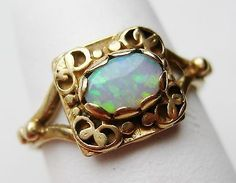 Fine Antique 10k Gold Oval Cut Australian Opal Filigree Ring size 5 1/4 #opalsaustralia