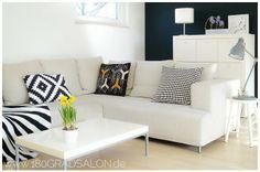 Vorher-Nachher unseres Wohnzimmers / Livingroom white black blue by 180° Salon