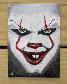 """You'll Float Too"" (2017) - Pennywise the Clown from Stephen King's ""It"" acrylic paint on 5"" x 7"" canvas panel . . . #art #artist #artshare #artofinstagram #artistsoninstagram #instaart #instaartist #artlife #painting #painter #creative #creativelife #craft #crafts #handmade #original #acrylicpainting #acrylic #it #itmovie #movie #pennywise #creepy #clown #stephenking #horror #horrorart #horrorpainting #nofilter #j9creationstudio"