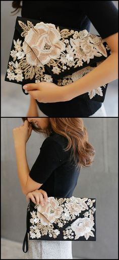 Elegant Embroidery Clutch Bag is now available at $45 from Pasaboho. Fashion trend and styles from hippie chic, modern vintage, gypsy style, boho chic, hmong ethnic, street style, geometric and floral outfits. We Love boho style and embroidery stitches. Hippie girls with free spirit sharing woman outfit ideas and bohemian clothes, cute dresses and skirts.