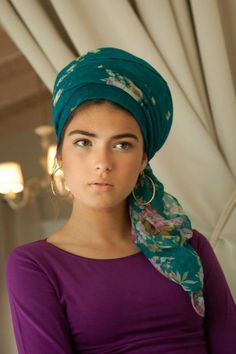 Teal patterned scarf, purple top