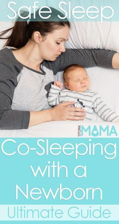 Ultimate guide to co-sleeping with a newborn baby. What you need to know about bed sharing and room sharing. Stork Mama