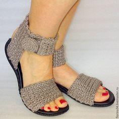 scarpe fatte a mano.  Masters Fiera - a mano.  Comprare Sandali a maglia, boho, beige, biancheria, R.38.  Fatto a mano.