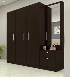 Buy Three Door Wardrobe with Dresser in Country Oak Dark Finish in PLPB by Primorati Online - Modern 3 Door Wardrobes - Modern 3 Door Wardrobes - TEST - Pepperfry Product Bedroom Furniture Design, Bedroom Cupboard Designs, Bedroom False Ceiling Design, Bedroom Closet Design, Bedroom Design, Modern Cupboard Design, Wardrobe Door Designs, Dressing Room Design, Wooden Wardrobe
