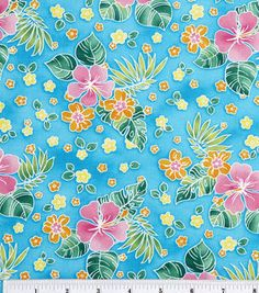 Novelty Cotton Fabric- Tossed Tropical Flowers