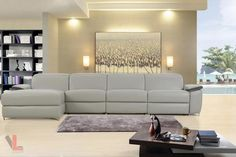 Aura Light Grey Top Grain Leather Power Reclining Large Sectional Sofa with Left Facing Chaise by Levoluxe