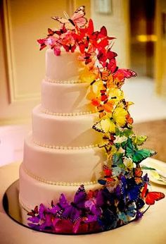 Butterfly rainbow wedding cake. #belloria #overtherainbow #weddings