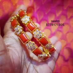 Stunning silver bangle studded with corals. Silver bangle with gold polish. Gold Jewelry Simple, Coral Jewelry, White Gold Jewelry, Beaded Jewelry, India Jewelry, Simple Necklace, Ruby Bangles, Silver Bangles, Thread Bangles