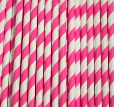 Hot Pink and White Striped Paper Straws by JazzyAppleGal on Etsy