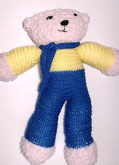 Charity bear made by Blue Light Babies, UK, for yarndale.co.uk Crochet Bear, Charity, Bears, Dinosaur Stuffed Animal, Light Blue, Teddy Bear, Babies, Toys, Creative