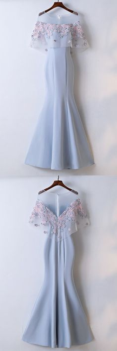 Pretty Sky Blue Fitted Mermaid Long Party Dress With Lace Flowers by prom dresses, $156.06 USD