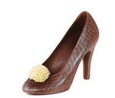 Milk Chocolate Shoe With A White Chocolate And Pearl Toe Décor.