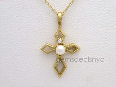 Pearl Solid 10K Yellow Gold Cross Pendant Necklace #Pendant
