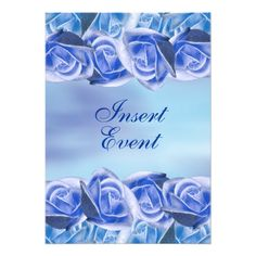 Blue aqua wedding elegant rose personalized announcements