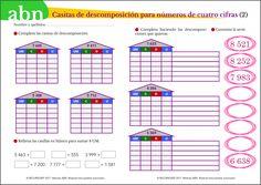 Método ABN. Casitas de descomposición para números de cuatro cifras Map, School, Toddler Learning, War, First Grade Math, Location Map, Peta, Maps