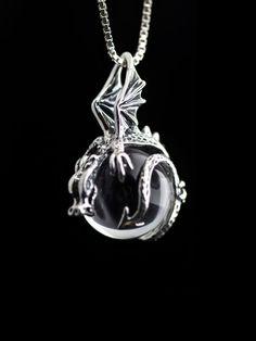 Dragon Necklace Silver Crystal Necklace Dragon Orb by martymagic