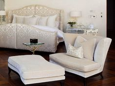 Modern Bedroom Chair With Matching Ottoman Set Design Feat Silver Bedside Cabinet And Luxurious Upholstered Bed