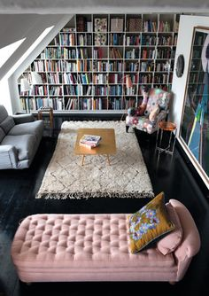Bibliothèques Love it but i would probably replace the colorful chair on the right with a white rocking chair