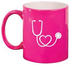 11oz Ceramic Coffee Tea Mug Glass Cup Stethoscope In Shape Of Heart Nurse Doctor - Blue Black Green Red Orange Pink Silver White
