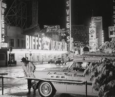 Snow storm at Fremont and Main Streets in Las Vegas (Christmas 1958)